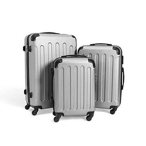 Todeco - Juego de Maletas, Equipajes de Viaje - Material: Plástico ABS - Tipo de ruedas: 4 ruedas de rotación de 360 ° - Esquinas protegidas, 51 61 71 cm, Plateado, ABS