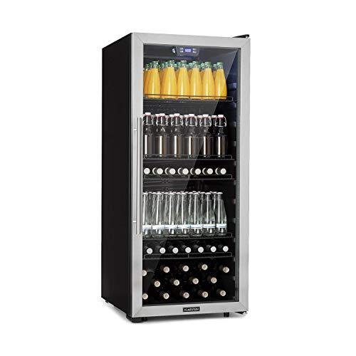 Klarstein Beersafe XL - Minibar, Nevera para bebidas, Refrigerador, Silencioso, Puerta de cristal, Iluminación LED, Acero inoxidable, Clase F, 55 x 126,5 x 56/60 cm, Volumen 242 L, Negro