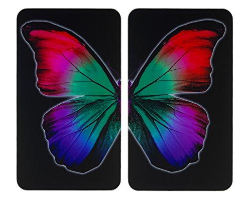 WENKO Herdabdeckplatte Universal Butterfly by Night 2er Set - 2er Set, Kochplattenabdeckung und Glas-Schneidebrett für alle Herdarten, Gehärtetes Glas, 30 x 1.8-5.5 x 52 cm, Mehrfarbig