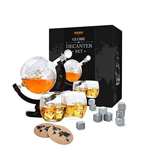 Toys4Boys - Set decanter per whisky con mappamondo in vetro da 850 ml, 2 bicchieri da whisky con 9 pietre da whisky, sfera del mondo con nave