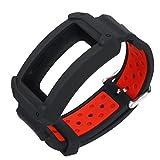 De Galen Correa de repuesto de silicona para Samsung Gear Fit 2 SM-R360/Fit2 Pro R365, correa de reloj, correa de reloj (color negro y rojo)