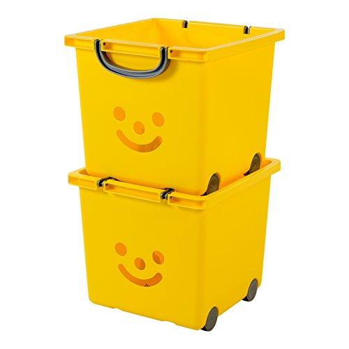 Iris Ohyama 135609 KCB-32 Smiley Kids Set de 2cubos de almacenaje sobre ruedas plástico, Amarillo Soleado/Plateado, 32 x 33 x 29 cm
