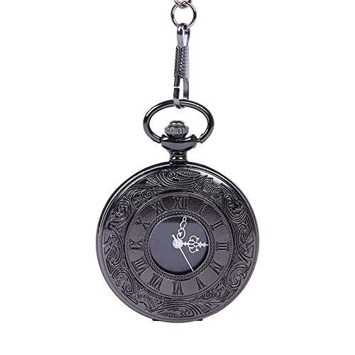 Yhjkvl-AC Reloj de Bolsillo para Hombres y Mujeres, Reloj de Bolsillo de Cuarzo clásico, esculpido con números Romanos, Reloj de Bolsillo con Cadena, Metal, Negro, Talla única