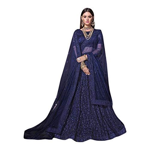 Blue Designer Crystal Work Wedding Bridal Lehenga Choli Ghagra Skirt Rock Kleid mit Dupatta Frauen traditionelle Hochzeit indische Frau festlich...