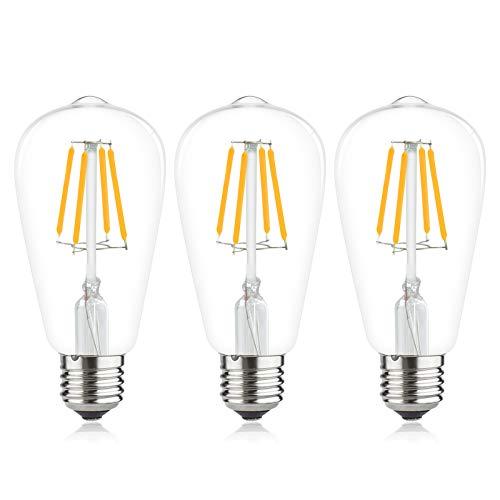 Luxvista 4W LED Filament Lampe Kaltweiß 6000K AC12V-36V Edison Retro Vintage Leuchte ST64 E27 Lampenfassung 400 Lumen Ersatz zu 40W Glühbirne 360° Grad für Dekorativ im Bar Cafe Restaurant (3 Stück)