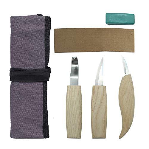Schnitzwerkzeug Set 3-teilig HolzSchnitzmesser Grabstichel mit Polierpaste,Schleifwerkzeug für Schnitzwerk Meißel Kunstschnitzerei