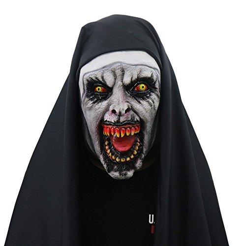 yacn Costume da suora per le donne, 2018 Maschera suora con velo Maschera zombie spaventoso(Nun)