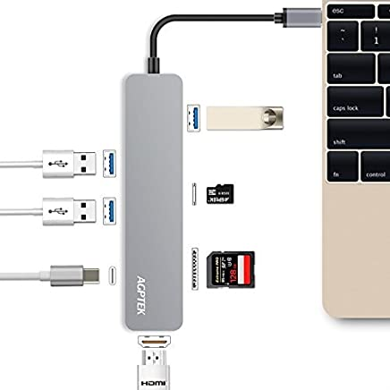 USB C Hub, AGPTEK 7-in-1 Multi Port Adapter with Type C Charging Port HDMI Port SD/TF Card Reader 3 USB 3.0 Ports Aluminum Design for Mac Book, Samsung, Chromebook and More Type C Device (Silver)