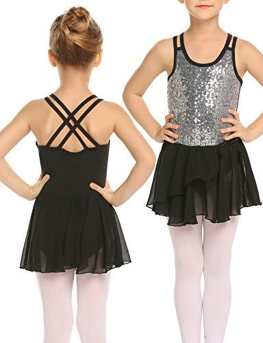 Mädchen Kleid Ballettkleid Kinder Ballett Trikot Ballettanzug mit Tütü Röckchen Pailletten Kleid Shiny Sparkle Fairy Party Fancy Costume, 150, Schwarz