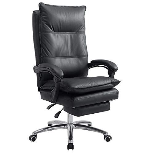 Sedie da scrivania Ergonomischer Computer di Stuhl Home Office Stuhl Alluminio Fuß Gioco Stuhl Pu Leder Lehn Cuoco Stuhl Hebestuhl (Color : Black, Size : 68 * 56 * 125cm)