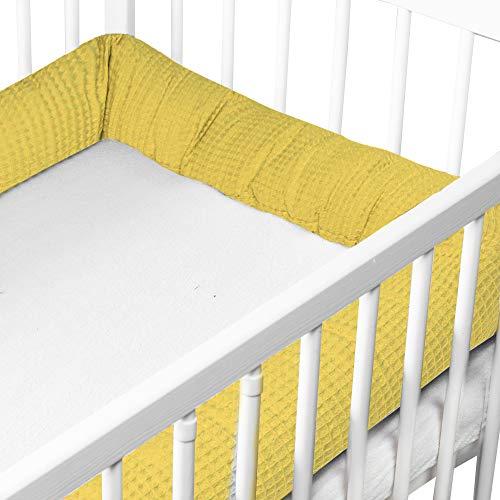 Protector Cuna Chichonera - Cama Bebé Cojín Parachoques Torre Protectores Para Cunas y Camas de Bebé Serpiente (Color Mostaza, 150 cm - Algodón Gofre)