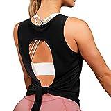 DIRASS Tank Tops for Women Muscle Tank for Women Tie Back Tops Activewear Gym Tops for Women(Black,M)