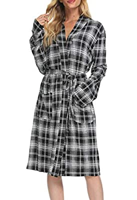 Costyleen Women Plaid Bathrobe Kimono V Neck Sleepwear Pocket Long Spa Robes Black S
