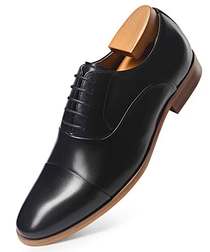 FRASOICUS Mens Dress Shoes Oxford Formal Lace Up Wingtip Leather Shoes for Men 10 Black