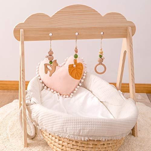 let's make Baby Wood Gym con 3 Juguetes Plegables de Madera Baby Teether, Unique Cloud Design Wooden Play Gym, Actividad de Madera Gimnasio Barra Colgante Regalo para Bebé Recién Nacido