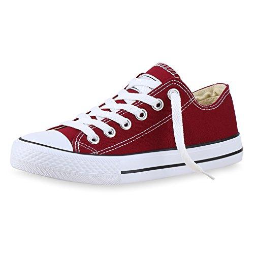 SCARPE VITA Damen Sneakers Freizeit Schuhe Stoffschuhe Sportschuhe 133787 Dunkelrot 36