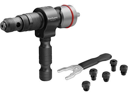 Fortum 4770663 - Remachadora para atornillador inalámbrico o taladro para remaches ciegos de aluminio de 2,4 a 6,4 mm (6 remaches), con mango en T, remaches, accesorio de remaches ciegos