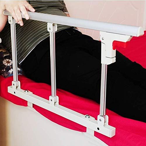 AMSXNOO Bed Rail, Foldable Elderly Bedside Handrail Silver Metal Guard Bed Assist Handle For Medical Hospital Home Care, 70 * 40cm