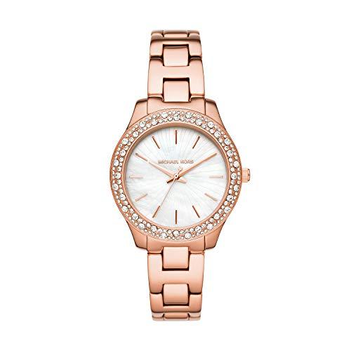 Michael Kors Women's Liliane Quartz Watch with Stainless Steel Strap, Pink, 16 (Model: MK4557)