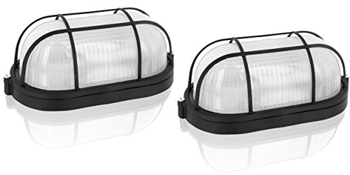 2er Pack - Saunalampe Kellerlampe Bulkhead E27 IP54 schwarz - Aluminium-Gehäuse mit Glasabdeckung