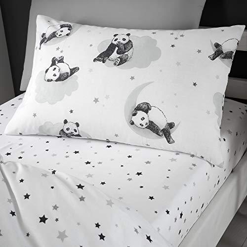 Happy Linen Company Mädchen/Jungen Einzelbett-Spannbettlaken - mit niedlichen Panda-Motiven - Weiß-Monochrom