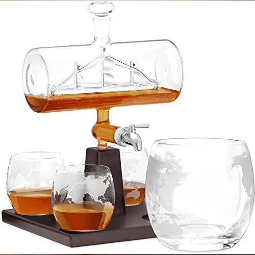 Decantador de whisky, brandy Bourbon Whisky Set 4 Original Decanter Brandy Whisky Glass Glass Viewing Botella de vino Botella de vino