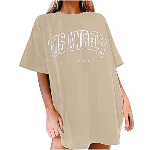 Damen T-Shirt Sommer Los Angeles Kurzarm Grafikdruck Shirt Tunika Oversized Mode Lose Rundhals Buchstaben Longshirt Frauen Vintage Bluse Oberteile Lang Tops für Teenager Mädchen
