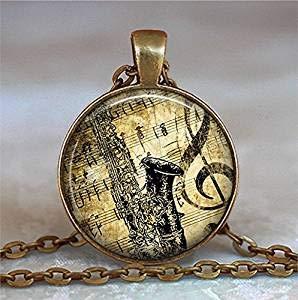 Collar de saxofón y música, collar de saxofón, colgante de saxofón, regalo para profesor de música, regalo para estudiantes de música