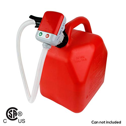 TERAPUMP 3rd Gen - No More Gas Can Lifting/Fuel Transfer Pump Fitting numerous Gas Cans (Advanced Auto-Stop Function and Flexible in and Out Take Hose)