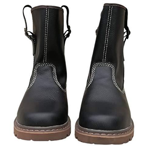 Botas de trabajo vintage para hombre y mujer, de cuero auténtico, botas de combate de piel de vaca, impermeables, resistentes al desgaste, zapatos de granja, color negro, 38