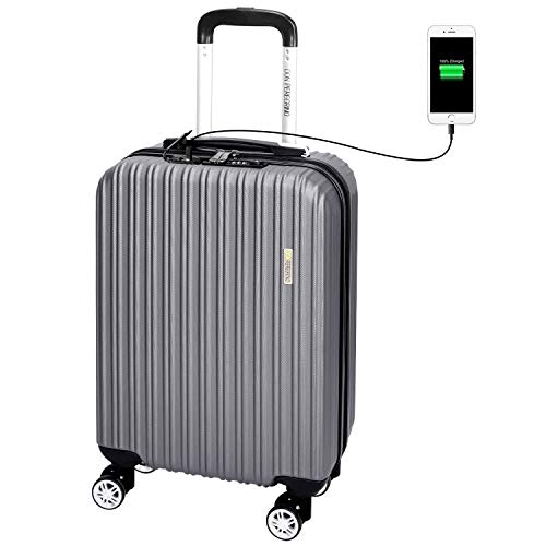 DONPEREGRINO 55cm Carry On Cabin Suitcase with TSA Lock & USB Ports, Lightweight Hand Luggage Suitcases with 4 Smooth Double Wheels