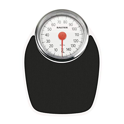 Body Scales Doctor - Báscula de baño mecánica, diseño Retro, medición de batería, Pantalla analógica fácil de Leer, Plataforma Estable de Metal, pesaje de hasta 150 kg, Pantalla LCD
