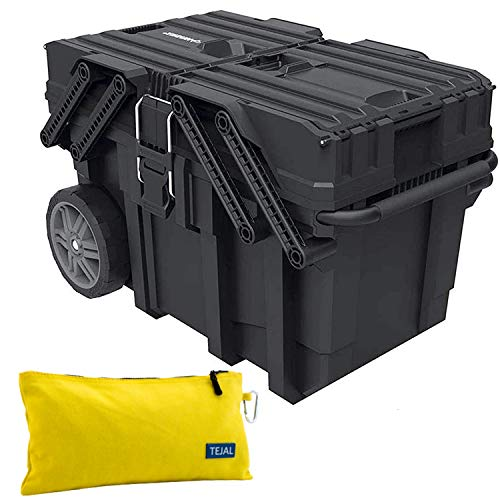 HUSKY Cantilever Tool Box - 25 in. Plastic Tool Box Organizer, Portable Rolling Tool Storage Box, Design Heavy Duty with Flip-Out Trays, 18 Compartments, Handle and Stronger Wheels YEOH Work Gloves