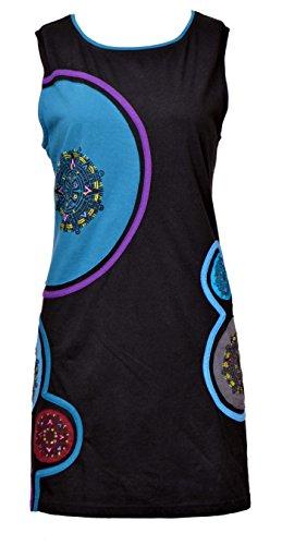 Vestido sin Mangas con Bordado de la Mandala y diseño Pintado a Mano