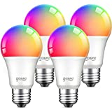 Alexa Smart Light Bulbs, Gosund 75W Equivalent E26 8W WiFi Led Bulb A19 RGB Color Changing Light Bulb Dimmable, Work with Google Home Amazon Echo, 2.4Ghz WiFi Only, No Hub Required 4 Pack