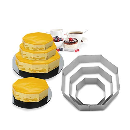 Funwhale 3 Tier Octagon Multilayer Anniversary Birthday Cake Baking Pans,Stainless Steel 3 Sizes Rings Octagon Molding Mousse Cake Rings(Octagon-Shapes,Set of 3)