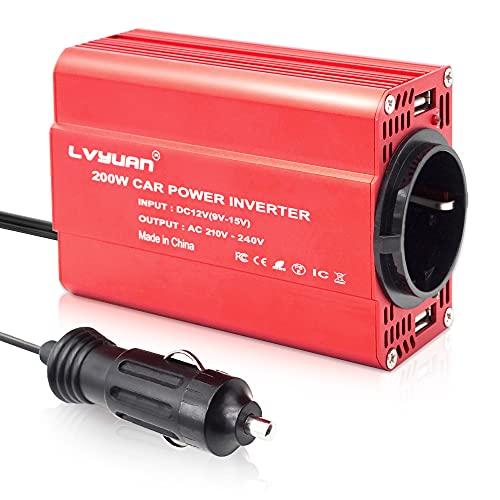 Wechselrichter 200W 12V zu 230V 2 USB-Euro-Steckdosen Kfz-Spannungswandler Kfz-Zigarettenanzünder-Adapter