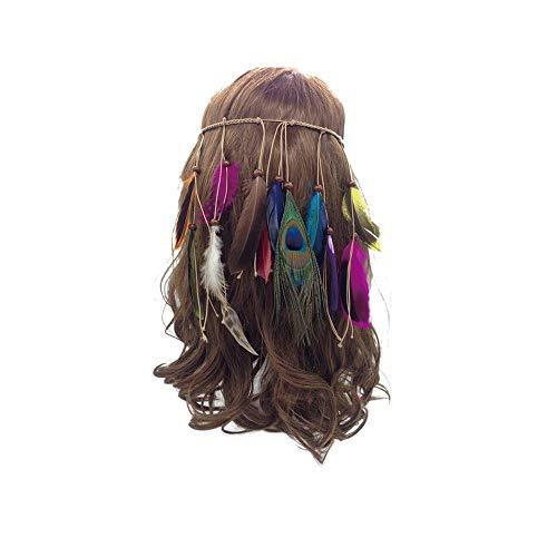 Indian Feather hoofdband Tassel Henneptouw Bohemian pauwenveren haarband voor Dames Meisjes Festival hoofdtooi,Color big hair