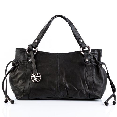 BACCINI Handtasche mit Langen Henkeln echt Leder Anna Henkeltasche Schultertasche Ledertasche Damen schwarz