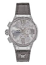 HÆMMER Damen Armbanduhr 'Bright Light E-001' analoger Quarz-Chronograph in Silber/Grau mit kratzfestem Saphirglas (Ø 45mm)