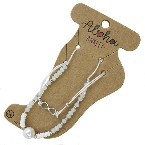 Aloha Girls Womens White Pearl Infinity Anklet Ankle Bracelet Adjustable Beach Bead Foot Jewellery