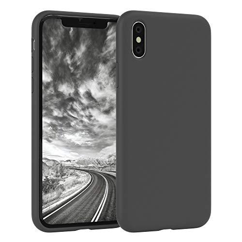 EAZY CASE Premium Silikon Handyhülle kompatibel mit Apple iPhone X/XS, Slimcover mit Kameraschutz & Innenfutter, Silikonhülle, Schutzhülle, Bumper, Handy Hülle, Hülle, Softcase, Anthrazit
