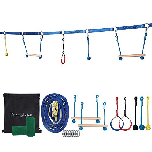Sunnyglade Backyard Ninja Line Hanging Obstacle Course/Slackers Ninja Line Accessories for Kids - 40ft Slackline Kit with 2 Bars, 3 Fists & 2Rings (Obstacle Course Ninja Line) (Backyard Ninja Line)