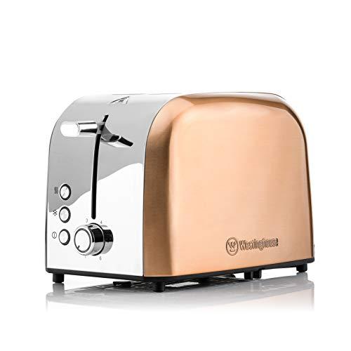 Westinghouse Edelstahl Toaster 2 Scheiben klein - 2er Toaster mit Doppelschlitz, zum Auftauen & Aufheizen, Farbe: Rosegold Metallic