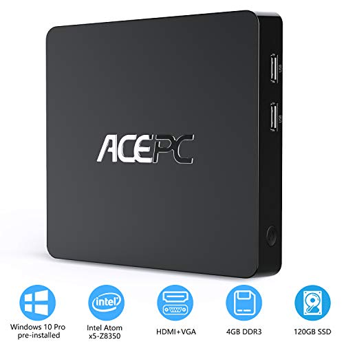Mini PC,T11 Intel Atom Z8350 Windows 10 Pro (64 bits) Mini computadora,4GB DDR+64GB eMMC/Interno de 120GB de 2.5 Pulgadas SSD/4K HD/BT 4.2/USB3.0 Computer Desktop,2.4/5G WiFi + Gigabit Ethernet