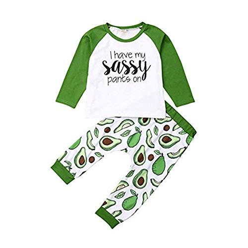 Chloefairy Baby Zweiteiliger Schlafanzug Langarmshirts Avocado Muster Warm Pyjama Hose Lang Outfit Set Baumwolle Nachtwäsche Jogginganzug für Kleinkinder Mädchen Jungen Herbst Winter (Grün, 80)