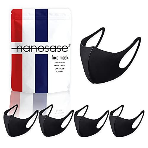 igozen 5 Pack Unisex Adult Nanosase G Sports face Masks BNS Poly Spandex (Black, Set of 5)