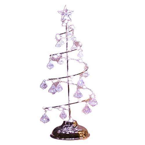 Generic 2pcs/Set Christmas Decoration Ornaments Crystal Tree Lamp LED Table Light White Light