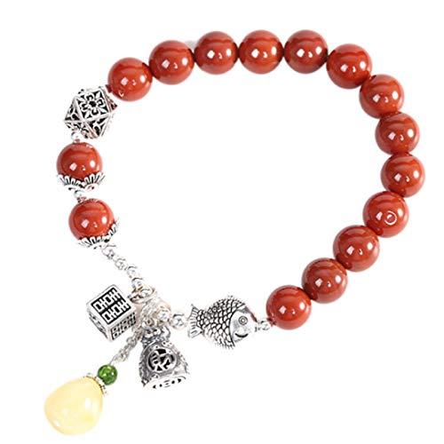CHXISHOP Pulsera elástica de ágata roja, pulsera de cuentas de piedras preciosas de alta calidad, pulsera de ágata roja envejecida, adecuada para mujeres