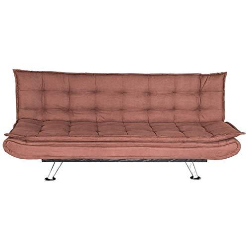 WeHome - Divano letto tre posti in microfibra, dimensioni 196 * 80 * 90, 4 piedi cromati di 20cm, altezza seduta 41cm (Caffè)